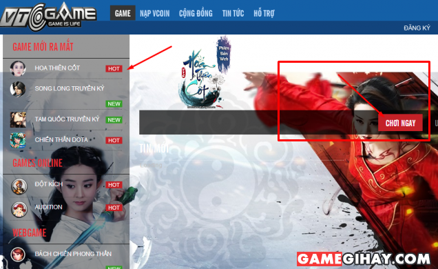 chơi game hoa thiên cốt trên bản client