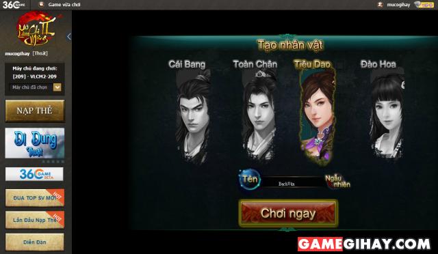 giao diện game võ lâm chi mộng 2