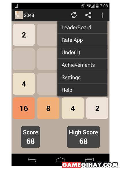 Hình 5 Tải 2048 - Trò chơi ghép số trên điện thoại Android