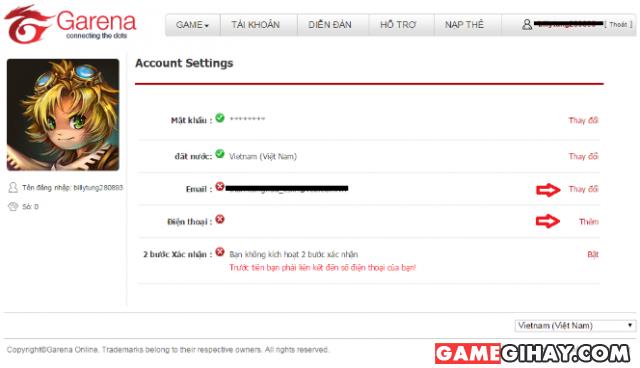 Một số thông tin thường gặp khi sử dụng tài khoản Garena + Hình 5