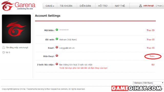 Một số thông tin thường gặp khi sử dụng tài khoản Garena + Hình 6